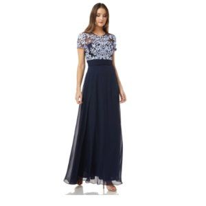 JS Collections FLORAL EMBROIDERED CHIFFON SKIRT